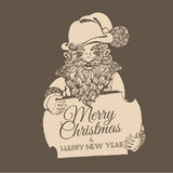 Hand drawn doodle Christmas dwarf holding festive signboard Royalty Free Stock Image