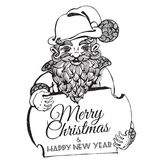 Hand drawn doodle Christmas dwarf holding festive signboard Stock Photography