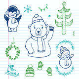 Hand drawn doodle Christmas set. Perfect for holiday design Stock Image