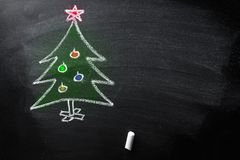 Hand Drawn Doodle Christmas Tree Chalk Blackboard Kids Style Colored New Year Greeting Card Poster Banner Template Royalty Free Stock Photography