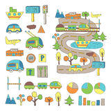 Hand drawn doodle city transport, traffic infographic Stock Image