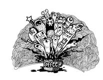 Hand drawn doodle Coffee Background, illustrator line tools draw Royalty Free Stock Photo