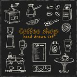 Hand drawn doodle coffee shop set. Royalty Free Stock Photos