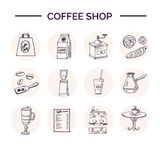 Hand drawn doodle coffee shop set. Vector illustration. Isolated elements on white background. Symbol collection Royalty Free Stock Photos