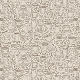 Hand-drawn doodle coffee and tea. vector. Coffee and tea set items. vector illustration Royalty Free Stock Photo