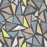 Hand drawn doodle colorful  triangles seamless retro pattern background dark Royalty Free Stock Photography