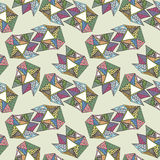 Hand drawn doodle colorful  triangles seamless retro pattern background light Stock Images