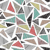 Hand drawn doodle colorful  triangles seamless retro pattern background light Royalty Free Stock Photo