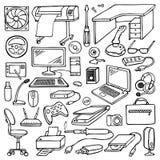 Hand drawn doodle computer set Stock Photos