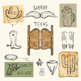 Hand drawn doodle cowboy objects collection. Including hat, mustache, doors, pistol, bag with money, cactus Royalty Free Stock Photo