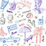 Hand drawn doodle Cuba travel seamless pattern Stock Photo