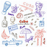 Hand drawn doodle Cuba travel set. Stock Images