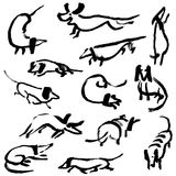 Hand drawn doodle dachshund dogs. Illustration set. With playing sniffing, sitting, standing, running pets. Artistic canine vector black and white ink Royalty Free Stock Image