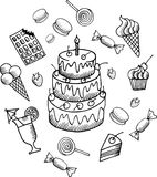 Hand drawn doodle desserts set. Vector doodle sweets illustrations royalty free illustration