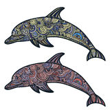 Hand drawn doodle dolphin zen tangle style beautiful doodles. illustration of sea animals Stock Image