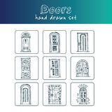 Hand drawn doodle doors set. Vector illustration.  elements on white background. Symbol collection Stock Image