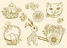 Hand drawn doodle Easter symbols Royalty Free Stock Photos