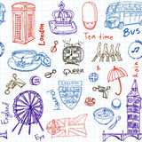 Hand drawn doodle England symbols seamless pattern Stock Photography