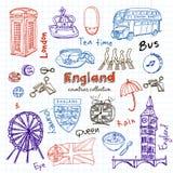 Hand drawn doodle England symbols set Stock Images