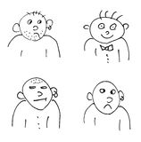 Hand-drawn doodle faces of men of different styles Royalty Free Stock Images