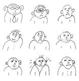 Hand-drawn doodle faces of men of different styles Stock Images