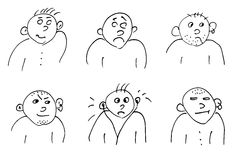 Hand-drawn doodle faces of men of different styles Royalty Free Stock Photos