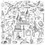 Hand drawn doodle fairy tale set royalty free illustration