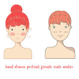 Hand  drawn doodle female and male portrait Royalty Free Stock Photography