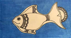 Hand-drawn doodle fish by ink pen on blue background, mandala fish hand-drawn Stock Photo