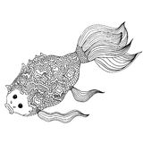 Hand drawn doodle fish. Lines editable Stock Photography