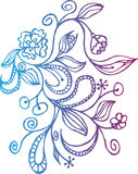 Hand drawn doodle floral background Royalty Free Stock Photos