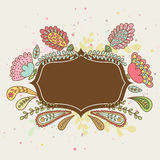 Hand-drawn doodle floral frame, abstract leaves and flowers. Vec Royalty Free Stock Photo