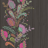 Hand-drawn doodle floral pattern, abstract leaves and flowers on Royalty Free Stock Photos