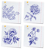 Hand-drawn doodle flower set Royalty Free Stock Images