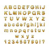 Hand drawn doodle font. Cartoon vector alphabet. Gold letters collection Royalty Free Stock Image