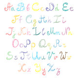 Hand Drawn Doodle Font. Children Drawings of Colorful Scribble Alphabet Royalty Free Stock Image