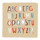 Hand drawn doodle font alphabet letters ABC upper case set. Hand drawn doodle font. Hand painted ink alphabet, creative letters ABC upper case set. Doodle comic stock illustration