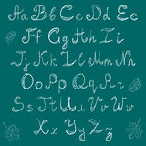 Hand Drawn Doodle Font and Leaves.Chalk Scribble Alphabet on Green Background. Royalty Free Stock Images