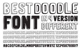 Hand drawn doodle font set Stock Image