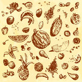 Hand drawn doodle food, fruits and berries. Brown objects, yellow watercolor seamless background. Royalty Free Stock Image