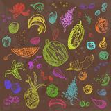 Hand drawn doodle food, fruits and berries. Colored objects, brown watercolor seamless background. Royalty Free Stock Image
