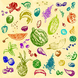 Hand drawn doodle food, fruits and berries. Colored objects, yellow watercolor seamless background. Royalty Free Stock Photo
