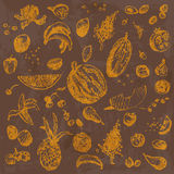 Hand drawn doodle food, fruits and berries. Orange objects, brown watercolor seamless background. Stock Photo