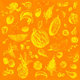 Hand drawn doodle food, fruits and berries. Yellow objects, orange watercolor seamless background. Stock Photo