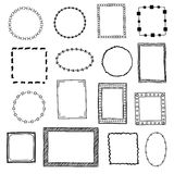 Hand drawn doodle frames, borders vector set