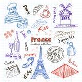 Hand drawn doodle France symbols set. Royalty Free Stock Image