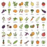 Hand drawn doodle Fruits and Vegetables Royalty Free Stock Images