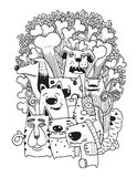 Hand drawn doodle Funny Dogs Set Stock Photography