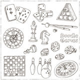 Hand Drawn Doodle Games Set. Chess Piece, Casino Roulette, Cards, Billiards. Royalty Free Stock Image