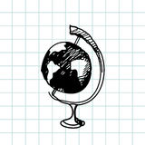 Hand drawn doodle globe. Black outline, notebook background. Geography, school, education. Royalty Free Stock Photo